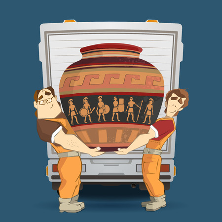 Professional transportation company illustration. Two workers mover man holding and carrying big heavy old egyptian vintage antique vase. 3d color vector creative concept with characters. Stock Illustratie