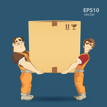 home moving: Transportation and delivery company illustration. Two workers mover man holding and carrying big heavy carton cardboard box. 3d color vector creative concept with characters.