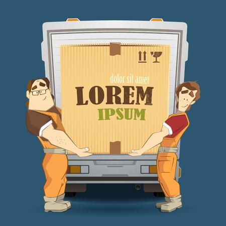 Transports et société de livraison illustration. Deux travailleurs mover homme chargement et de déchargement grosse boîte de carton de carton lourd d'un camion. Couleur vecteur 3d concept créatif avec des personnages.
