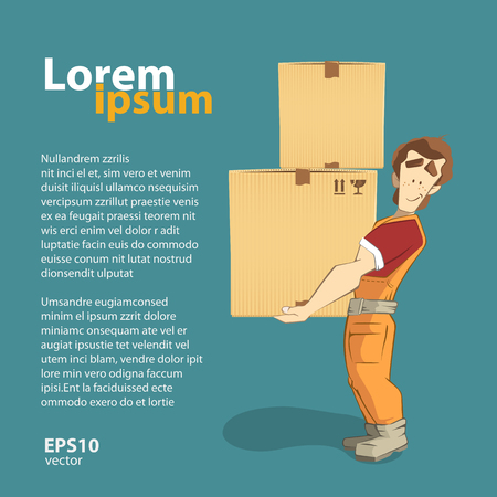 package deliverer: Transportation and delivery company illustration. A postman courier holding big heavy carton cardboard box. 3d color vector creative concept with character.