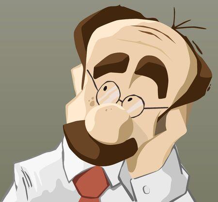 pensando: Retrato del adulto hombre de pensamiento con la mano en la barbilla Vectores