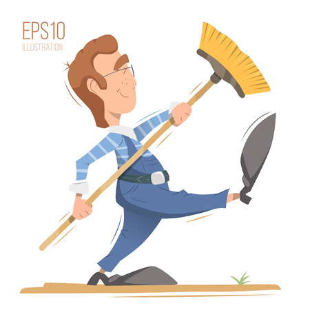 cleaner worker: Happy smile man cleaner worker holding broom. Professional cleaning service illustration. Isolated bright color vector character.