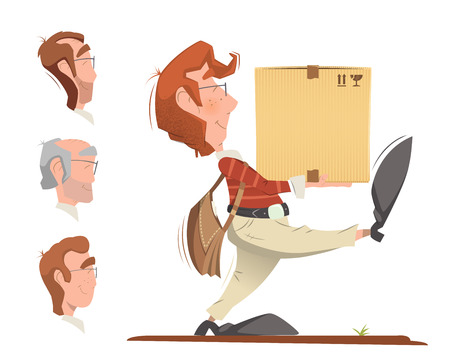postal: Courier postman holding and carrying carton cardboard box. Delivery service color vector illustration. Illustration