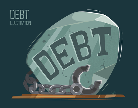 debt trap: Debt vector illustration. Big heavy stone with steel chain and shackles fetters. Creative concept. Illustration