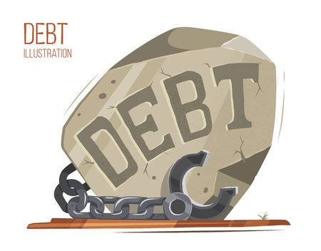 Debt vector illustration. Big heavy stone with steel chain and shackles fetters. Creative concept. Illustration
