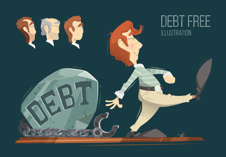 insolvency: Debt free freedom color vector illustration concept.