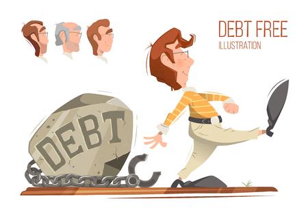 Debt free freedom color vector illustration concept.