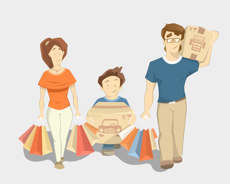 Happy family with paperbags shopping bags. Walking going forward and smile.