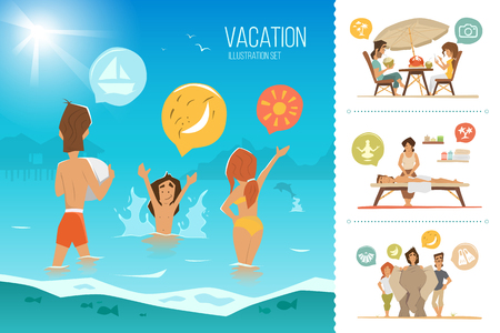 Family summer vacation illustration set. Happy mother, father and his child kid, playing on the beach. Çizim