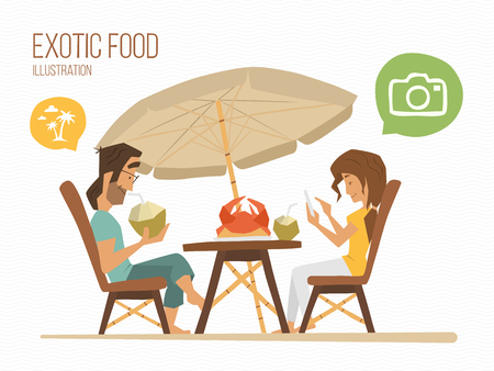 Couple man and woman sitting in a tropical street cafe, eating exotic food.