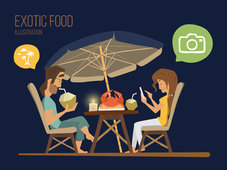 happy couple: Couple man and woman sitting in a street tropical cafe at the evening. Romantic dinner illustration.