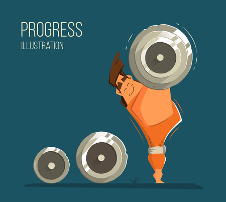 Handsome strong muscle smile happy man bodybuilder weightlifter standing and holding big heavy barbell. Progress achievement success color vector illustration.