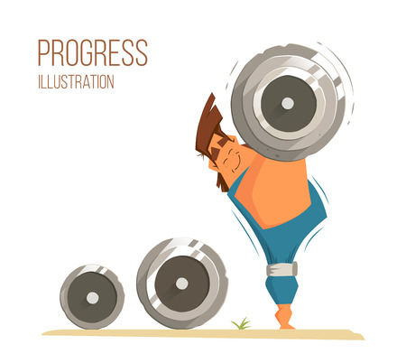 hand lifting weight: Strong man bodybuilder weightlifter holding big heavy barbell dumbbell. Color vector fynny bright illustration.
