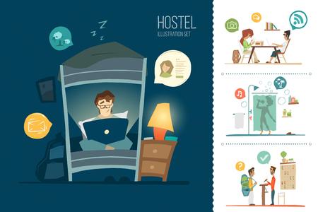 Hotel de ciudad albergue color plano ilustración conjunto