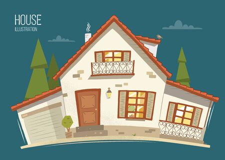 Beautiful eco ecology rural country house home. Color vector illustration.