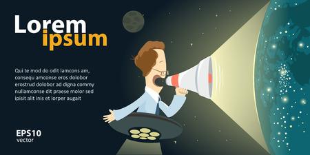 eshop: Digital web e-shop, website marketing. E-media promotion concept. Man holding megaphone. Vector color creative illustration. Illustration