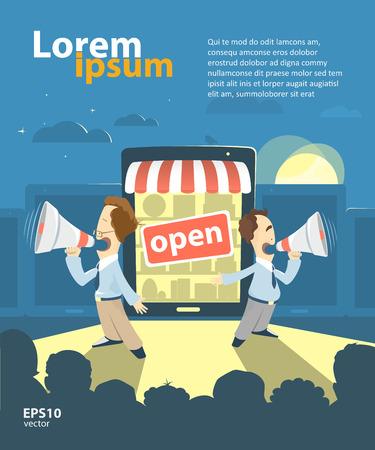 store: E-shop, negozio on-line, internet promozione pubblicità del negozio presentazione illustrazione. Grande apertura.