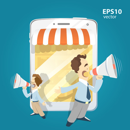 Two man standing holding loudspeakers and shouting. Internet shop and website promotion illustration. Vectores