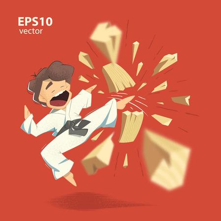 judo: Personaje de dibujos animados karate kid rompiendo ilustración tabla de madera Vectores