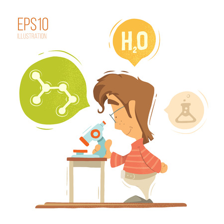 child boy: School chemistry lesson colorful vector illustration. Young schoolboy boy child kid pupil holding, using microscope. Isolated on white background. Illustration