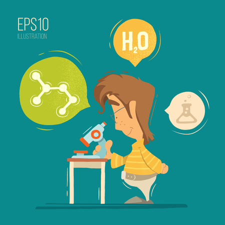chemistry lesson: School chemistry lesson colorful vector illustration. Young schoolboy boy child kid pupil holding, using microscope.