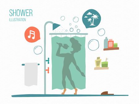 nue plage: homme chante dans une douche
