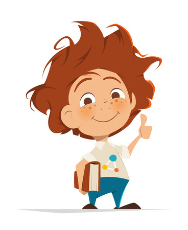 untidy: Vector character illustration of Smart cute kid with book thumbs finger up Illustration