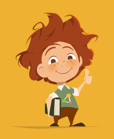 Vector character illustration of Smart cute kid with book thumbs finger up Illustration