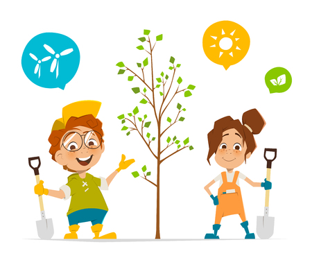 Vector character illustration of two kids boy and girl planting a tree