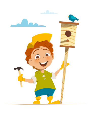 nesting box: Boy and nesting box with bird Ecology environment protection illustration