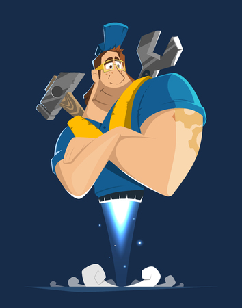 Vector character illustration of fly worker workman man handyman repairman working in car or home house repair service Illustration