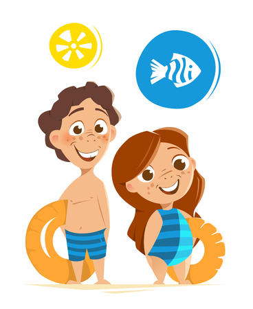 happy smile: Color vector character illustration of happy smile healthy kids childs on summer vacation