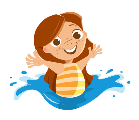 maillot de bain: Cute beautiful little girl playing in a sea ocean or swimming pool water Illustration