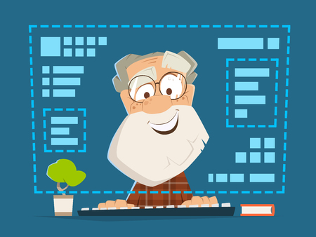 old man sitting: Happy smile old man sitting in front of the computer monitor Online education Illustration