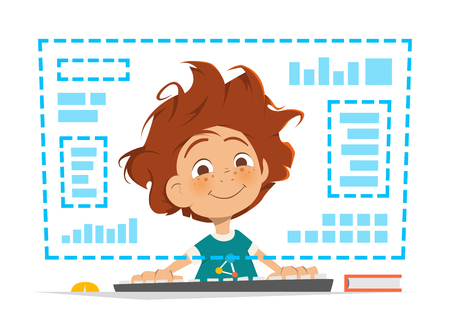 child boy: Character vector illustration of a happy smile boy kid child sitting in front of computer monitor Online education Illustration