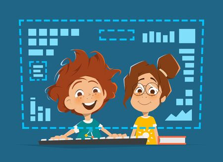 two child: Two happy smile kids child sitting in front of the monitor Online education Illustration