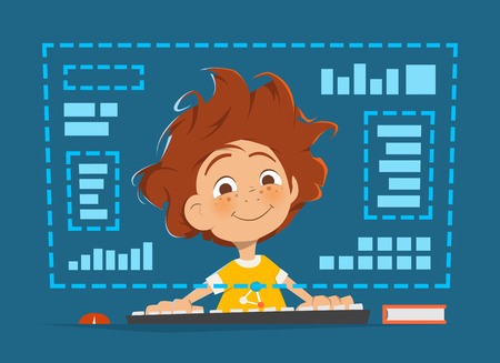 kid smile: Character vector illustration of a happy smile boy kid child sitting in front of computer monitor Online education Illustration