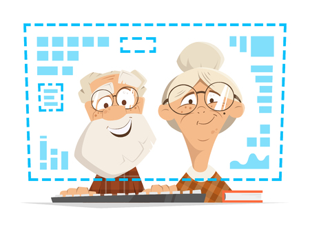 컴퓨터 모니터 앞에 앉아 늙은 남자와 여자. 사람들이 온라인 교육 개념.