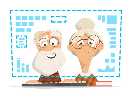 Viejo hombre y mujer sentada frente al monitor de la computadora. Concepto de educación de personas en línea. Ilustración de vector