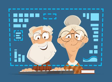 old man sitting: Old man and woman sitting in front of the computer monitor. Online people education concept.