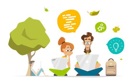 Dos personajes de los estudiantes con el cuaderno del ordenador portátil en una ilustración vectorial de banda plana parque de infografía