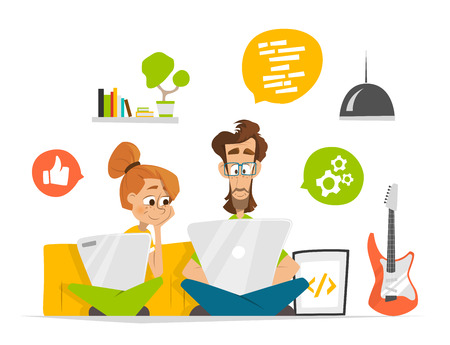 people together: Two students characters in room with computer notebook laptop Flat web vector illustration for infographics Illustration
