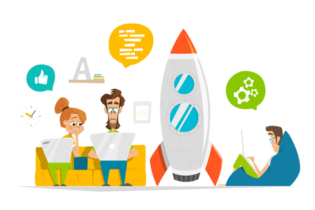 Young team working on new startup start up in modern office Business entrepreneur characters people illustration