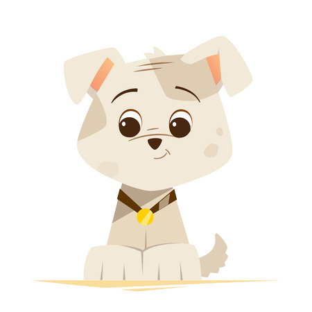 whelp: Color vector illustration of cute little funny dog puppy