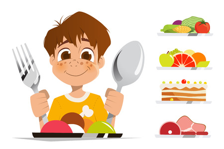 Happy smile boy kid child holding spoon and fork eating meal dish Vectores