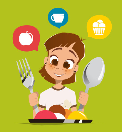 kid smile: Happy smile girl kid child holding spoon and fork eating meal dish