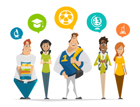 Vector character illustration of multinational group of students teenagers standing in a row Group photo Ilustração