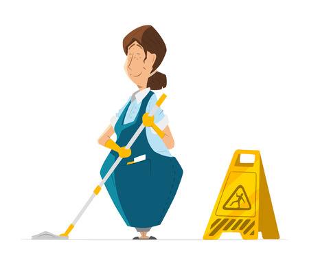 janitor: Vector character of cleaner lady or janitor woman in uniform cleaning floor holding mop