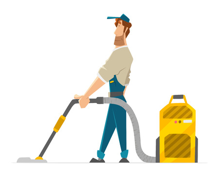 Vector character of cleaner janitor man vacuum floor holding professional hoover