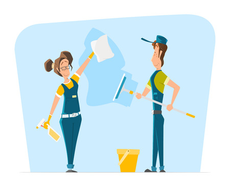 Vector character of smile woman and man in uniform cleaning big office or house window